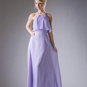 Lilac Halter Neckline Long Prom Dress CD13031